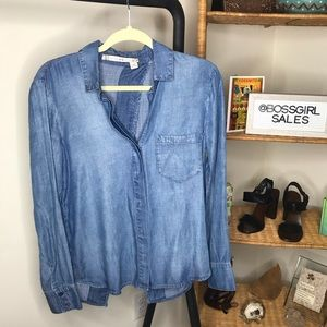Chelsea & Violet Chambray Open Back Button Up XS